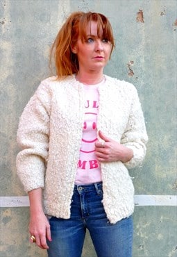 80s vintage cardigan in chunky bobble knit