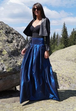 BlueTaffeta Skirt Long Maxi Skirt Floor length F1268