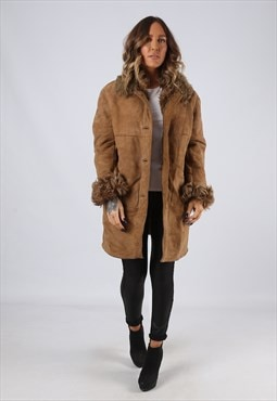 Sheepskin Suede Leather Shearling Coat UK 12 Medium (LJ3G)