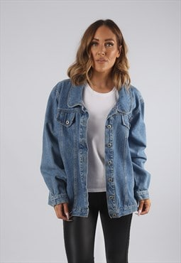 Vintage Denim Jacket Oversized Fitted UK 18 XXL (9AH)