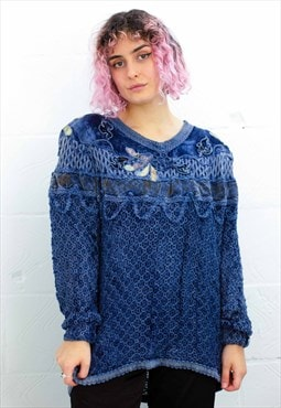 Vintage Blue Embroidered Jumper