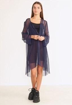 Vintage Blue Long Sleeve See Through Transparent Jacket