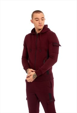 Mens Wine Cargo Pocket Detail Skinny Fit Tracksuit