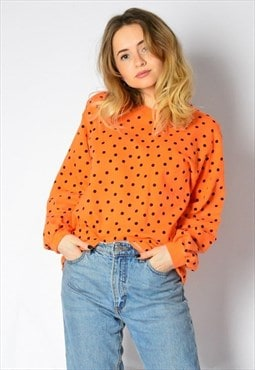Vintage 80s Orange Polka Dot V-Neck Sweatshirt Petite