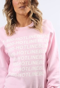 Sweatshirt Jumper NUMBER HOTLINE Logo Print UK 10 (H8CV)