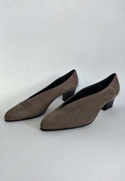 Vintage Velour Pumps Kitten Heel - Suede Leather Pointed Toe