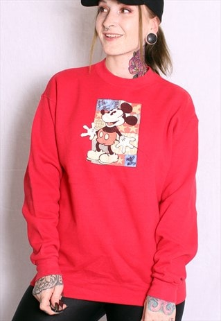 VINTAGE 90S RED DISNEY MICKEY MOUSE SWEATER