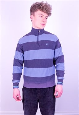 Vintage Fred Perry 1/4 Zip Striped Sweatshirt in Blue