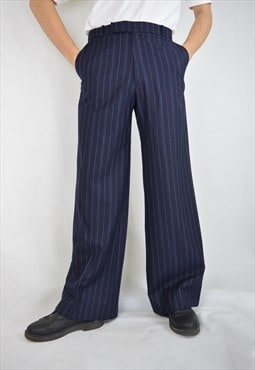 Vintage 80's blue striped disco party wool trousers