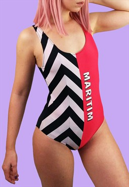 Vintage 80's Retro Swimsuit Black White  Red
