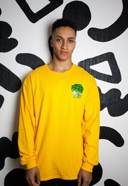 Long sleeve broccoli T-shirt in yellow