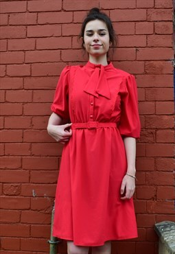 70s/80s Red 3/4 Length Sleeve Belted Midi Dress