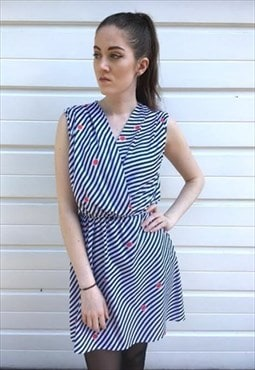 Womens Vintage 80s dress blue white stripy sleeveless dress