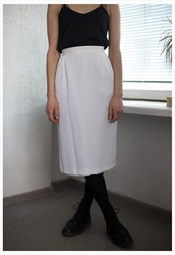 Vintage 60's High Waisted Midi Skirt In White