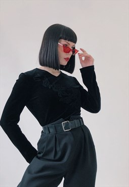 90s Vintage Black Velvet Soft Embroidered Blouse Top