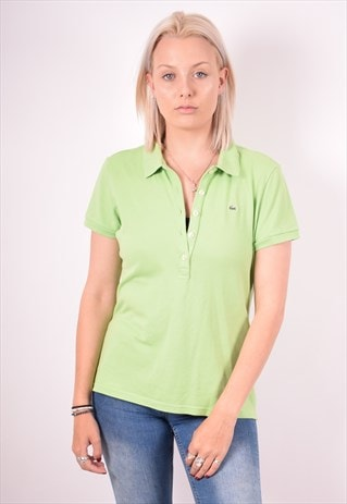 LACOSTE WOMENS VINTAGE POLO SHIRT LARGE GREEN 90S
