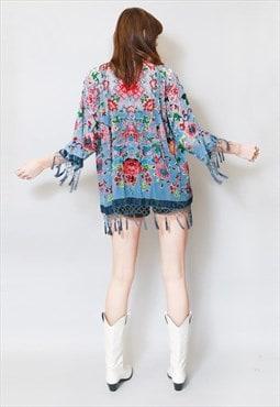 Vintage Style Blue Silk Velvet Tassel Festival Kimono