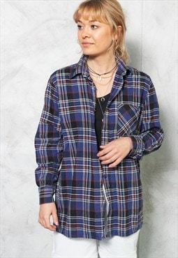 90s Blue Plaid Button Down Shirt