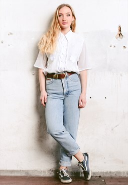 Vintage 80s White Retro Blouse with Mesh Sleeves