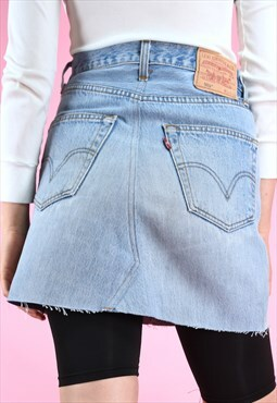 DIRTY Vintage rework skirt 90s levi's denim mini blue