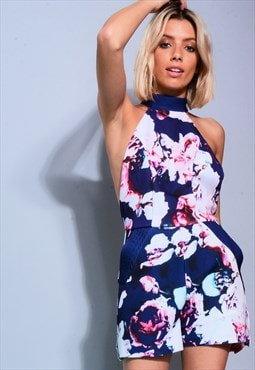 Floral Printed Plunge Back Playsuit with Pockets in Blue