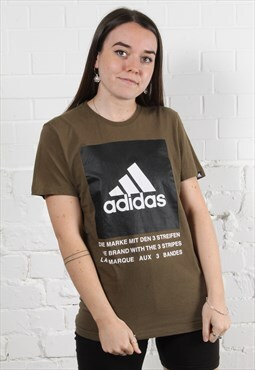 Vintage Adidas T-Shirt in Khaki Green w/ Spell Out Logo