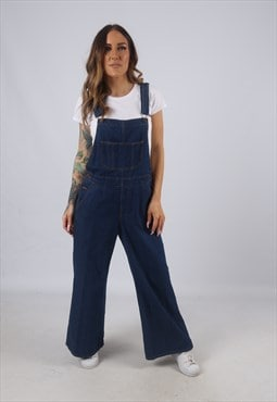 Vintage Denim Dungarees Wide Flared Leg UK 12 M  (CW5C)