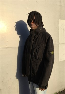 Vintage Stone Island Autumn Winter 1998 Dark Grey Wool Coat