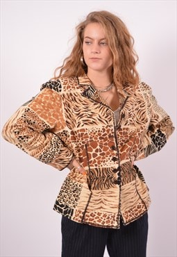 Vintage Moschino Blazer Jacket Animal Print Multi