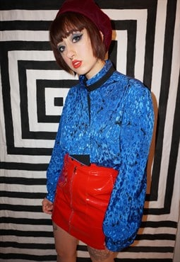 Vintage 80s Shiny Electric Blue Patterned Blouse