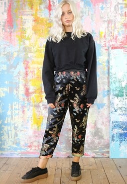 Dragon Trousers & Black Crop Sweat Co-ordinates