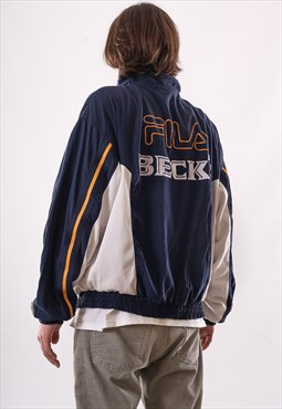 90's Vintage Mens FILA BECK'S Big Logo Windbreaker Jacket