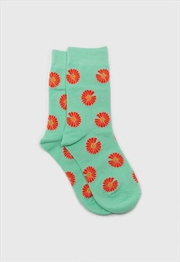 Mint and orange daisy print socks