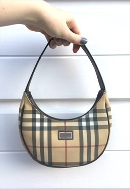 Womens Burberry handbag crescent shape beige nova check bag