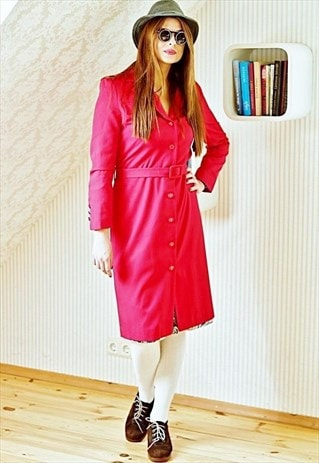 RED VINTAGE TRENCH COAT LONG JACKET