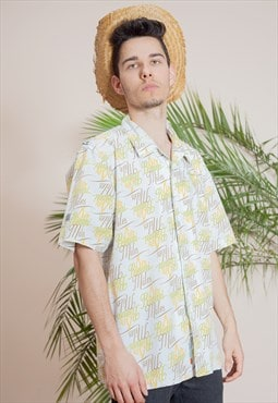 Men vintage short sleeve, abstract print, button up shirt