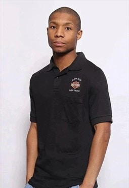 Vintage Harley Davidson Embroidered Logo Polo Shirt Black