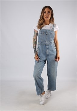 Vintage Denim Dungarees Wide Leg UK 10 Small  (E4U)