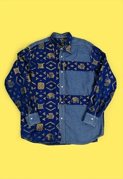 Vintage 80's 90's Unisex Oversized Blue Gold Denim Shirt