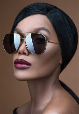 Large Gold Fashion Aviator Womens Sunglasses
