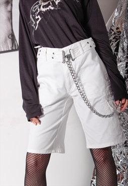 90s vintage y2k gothic cargo white denim silver o-ring short