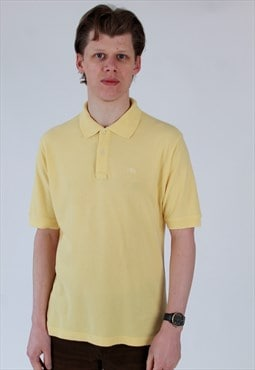 90s Burberry London lemon yellow pique polo shirt