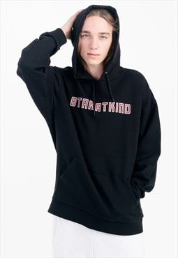 Oversized Printed Hoodie in Black with Pouch Pocket