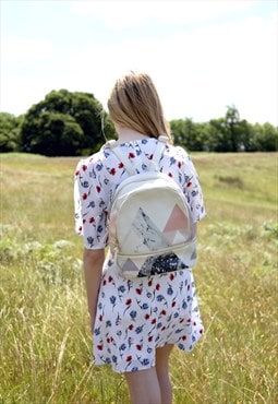 Small Grey Geometric Marble Vegan Backpack/Mini Rucksack
