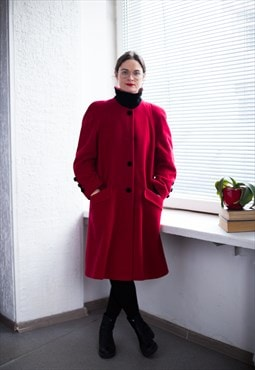 Vintage 80's Red Wool Swing Coat