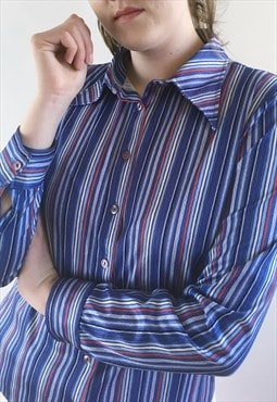 Womens Vintage 70s blouse blue stripy long sleeve shirt top