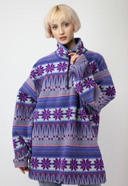 Vintage 90's Oversize Patterned Fleece Sweatshirt in Multi