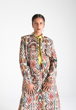Multicolor Cotton Jacket with Pockets