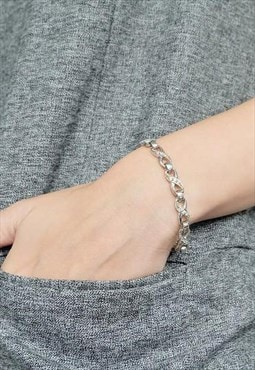 Handmade Infinity Chain Sterling Silver Bracelet