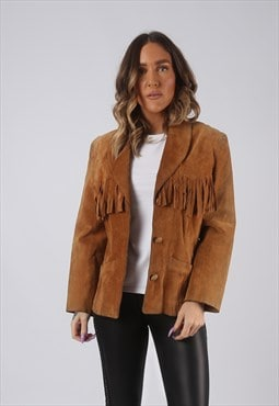 Suede Leather Fringe Tassel Jacket Vintage UK 10 (CWCX)